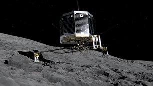 Künstlerische Darstellung vom Aufsetzen Philaes auf dem Kometen. Quelle ESA